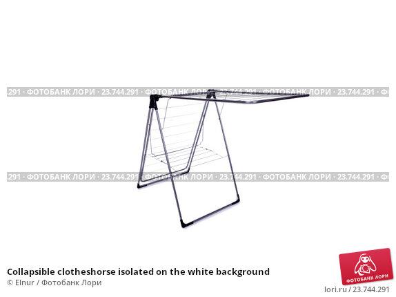 Купить «Collapsible clotheshorse isolated on the white background», фото № 23744291, снято 1 июня 2016 г. (c) Elnur / Фотобанк Лори