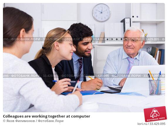 Купить «Colleagues are working together at computer», фото № 33429095, снято 27 июня 2017 г. (c) Яков Филимонов / Фотобанк Лори