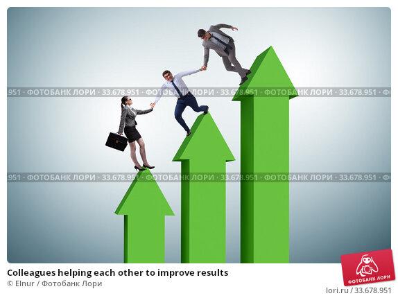 Купить «Colleagues helping each other to improve results», фото № 33678951, снято 14 июля 2020 г. (c) Elnur / Фотобанк Лори