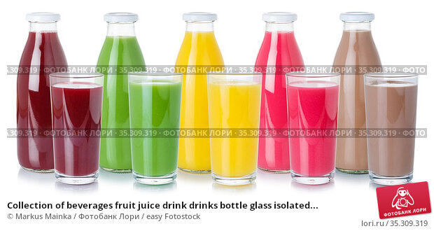 Collection of beverages fruit juice drink drinks bottle glass isolated... Стоковое фото, фотограф Markus Mainka / easy Fotostock / Фотобанк Лори