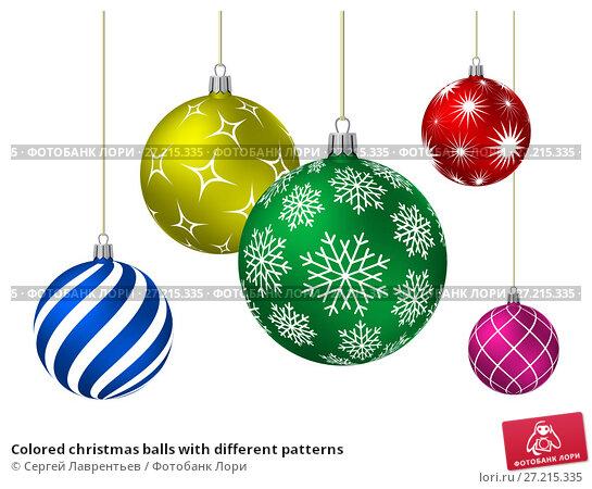 Купить «Colored christmas balls with different patterns», иллюстрация № 27215335 (c) Сергей Лаврентьев / Фотобанк Лори