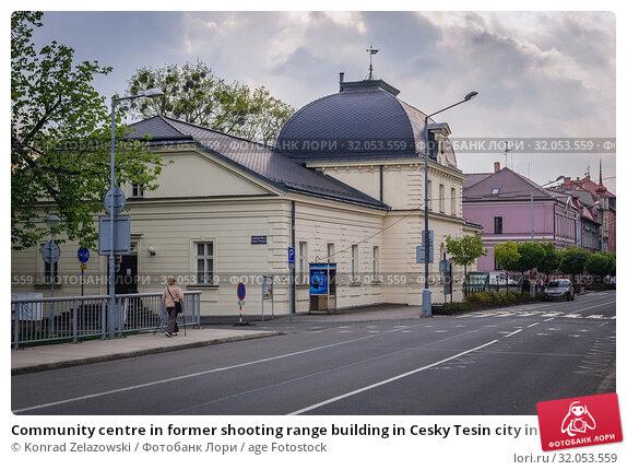 Community centre in former shooting range building in Cesky Tesin city in the Moravian-Silesian Region of Czech Republic. Стоковое фото, фотограф Konrad Zelazowski / age Fotostock / Фотобанк Лори