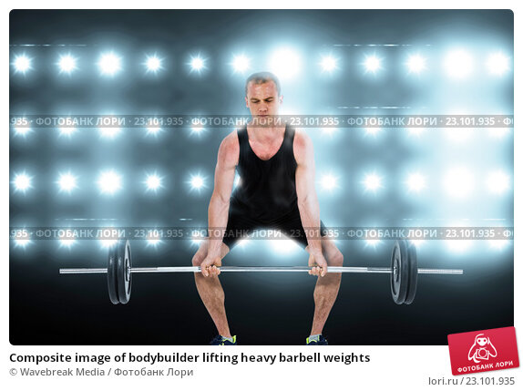 Купить «Composite image of bodybuilder lifting heavy barbell weights», фото № 23101935, снято 20 апреля 2019 г. (c) Wavebreak Media / Фотобанк Лори