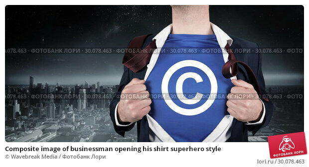 Купить «Composite image of businessman opening his shirt superhero style», фото № 30078463, снято 28 марта 2014 г. (c) Wavebreak Media / Фотобанк Лори
