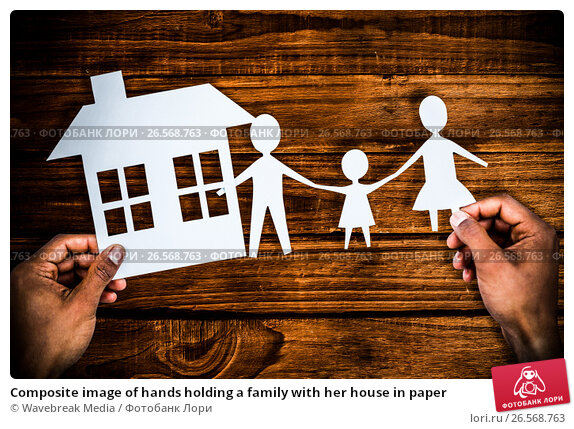 Купить «Composite image of hands holding a family with her house in paper», фото № 26568763, снято 22 апреля 2019 г. (c) Wavebreak Media / Фотобанк Лори