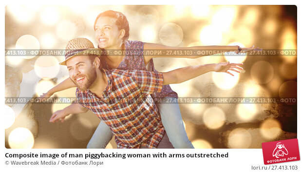 Купить «Composite image of man piggybacking woman with arms outstretched», фото № 27413103, снято 26 марта 2019 г. (c) Wavebreak Media / Фотобанк Лори