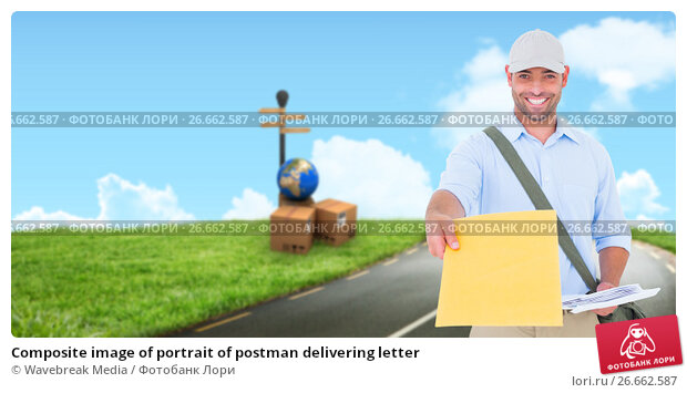 Composite image of portrait of postman delivering letter, фото № 26662587, снято 28 июля 2017 г. (c) Wavebreak Media / Фотобанк Лори