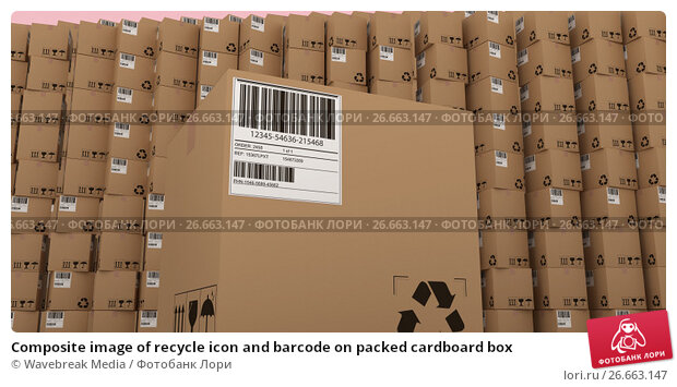 Composite image of recycle icon and barcode on packed cardboard box, иллюстрация № 26663147 (c) Wavebreak Media / Фотобанк Лори