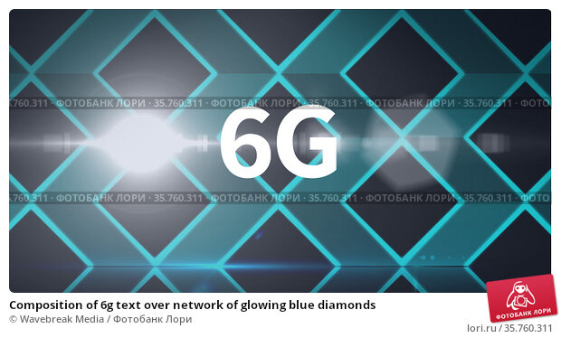 Composition of 6g text over network of glowing blue diamonds. Стоковое фото, агентство Wavebreak Media / Фотобанк Лори