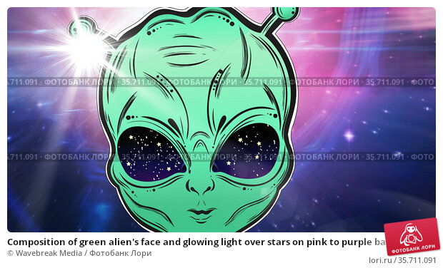 Composition of green alien's face and glowing light over stars on pink to purple background. Стоковое фото, агентство Wavebreak Media / Фотобанк Лори