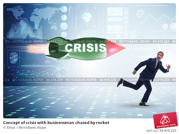 Concept of crisis with businessman chased by rocket. Стоковое фото, фотограф Elnur / Фотобанк Лори