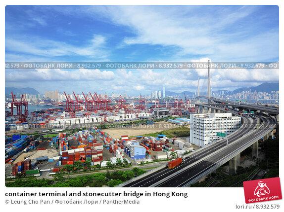 Купить «container terminal and stonecutter bridge in Hong Kong», фото № 8932579, снято 11 июня 2019 г. (c) PantherMedia / Фотобанк Лори