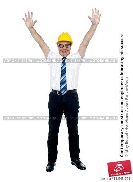 Купить «Contemporary construction engineer celebrating his success», фото № 11545791, снято 4 апреля 2020 г. (c) PantherMedia / Фотобанк Лори