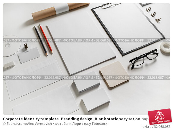 Corporate identity template. Branding design. Blank stationery set on paper background. Стоковое фото, фотограф Zoonar.com/Alex Veresovich / easy Fotostock / Фотобанк Лори