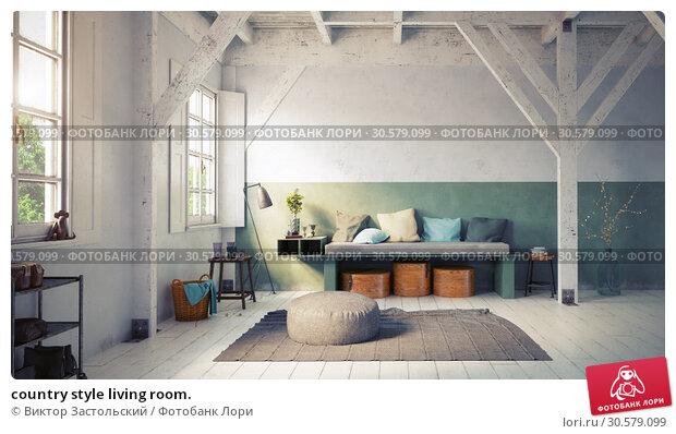 Купить «country style living room.», фото № 30579099, снято 22 мая 2019 г. (c) Виктор Застольский / Фотобанк Лори