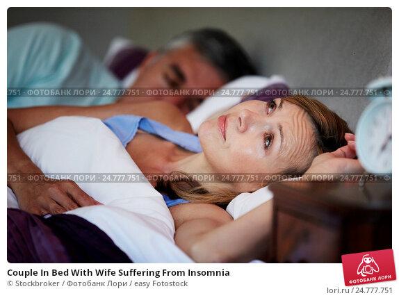 Купить «Couple In Bed With Wife Suffering From Insomnia», фото № 24777751, снято 8 июля 2013 г. (c) easy Fotostock / Фотобанк Лори