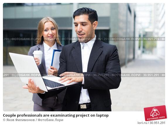 Купить «Couple professionals are examinating project on laptop», фото № 30951291, снято 20 августа 2017 г. (c) Яков Филимонов / Фотобанк Лори