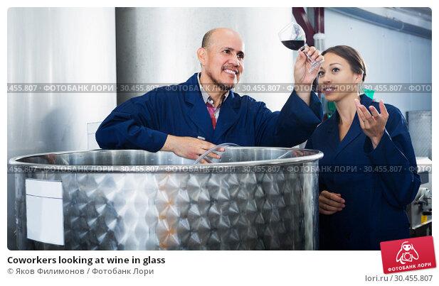 Coworkers looking at wine in glass. Стоковое фото, фотограф Яков Филимонов / Фотобанк Лори