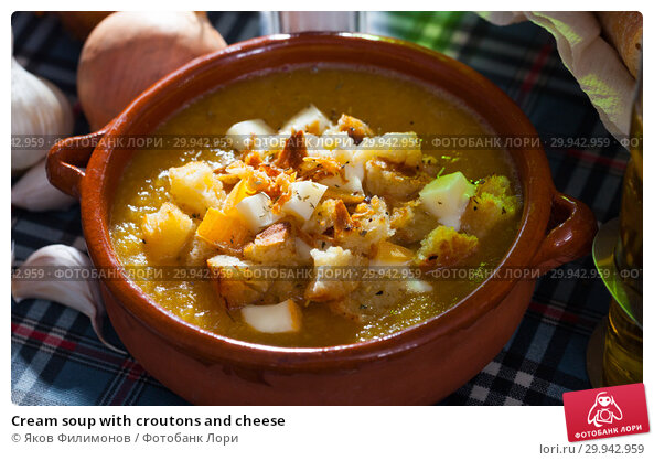 Купить «Cream soup with croutons and cheese», фото № 29942959, снято 22 апреля 2019 г. (c) Яков Филимонов / Фотобанк Лори