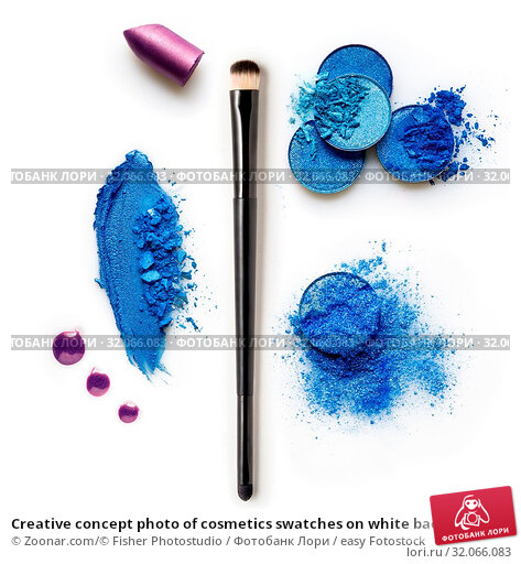Creative concept photo of cosmetics swatches on white background. Стоковое фото, фотограф Zoonar.com/© Fisher Photostudio / easy Fotostock / Фотобанк Лори