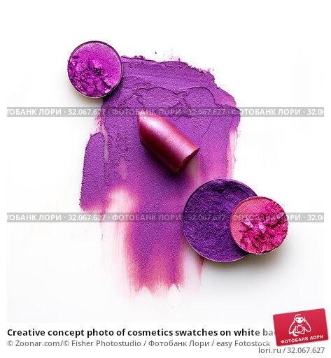 Creative concept photo of cosmetics swatches on white background. Стоковое фото, фотограф Zoonar.com/© Fisher Photostudio / easy Fotostock / Фотобанк Лори
