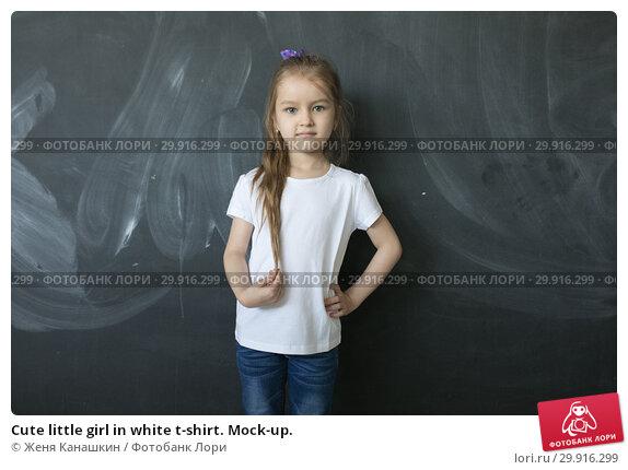 Купить «Cute little girl in white t-shirt. Mock-up.», фото № 29916299, снято 15 мая 2018 г. (c) Женя Канашкин / Фотобанк Лори