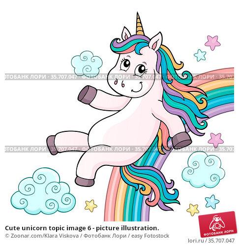 Cute unicorn topic image 6 - picture illustration. Стоковое фото, фотограф Zoonar.com/Klara Viskova / easy Fotostock / Фотобанк Лори