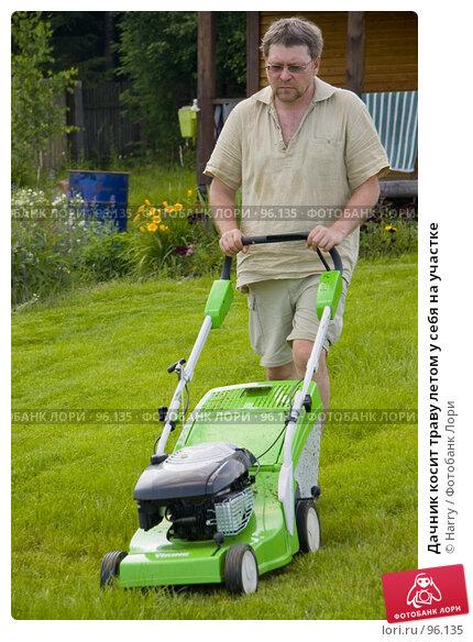 Купить «Дачник косит траву летом у себя на участке», фото № 96135, снято 7 июля 2007 г. (c) Harry / Фотобанк Лори