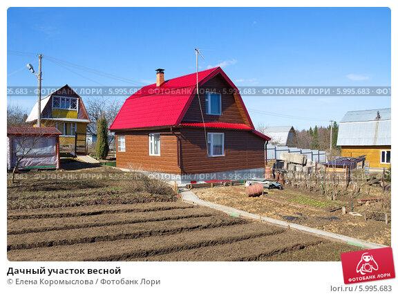 Купить «Дачный участок весной», эксклюзивное фото № 5995683, снято 17 апреля 2014 г. (c) Елена Коромыслова / Фотобанк Лори