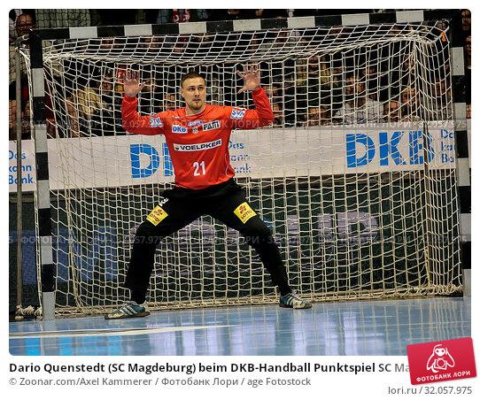 Dario Quenstedt (SC Magdeburg) beim DKB-Handball Punktspiel SC Magdeburg - Frisch Auf Göppingen am 22.02.2018 in Magdeburg. Стоковое фото, фотограф Zoonar.com/Axel Kammerer / age Fotostock / Фотобанк Лори