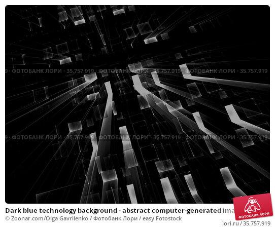 Dark blue technology background - abstract computer-generated image... Стоковое фото, фотограф Zoonar.com/Olga Gavrilenko / easy Fotostock / Фотобанк Лори