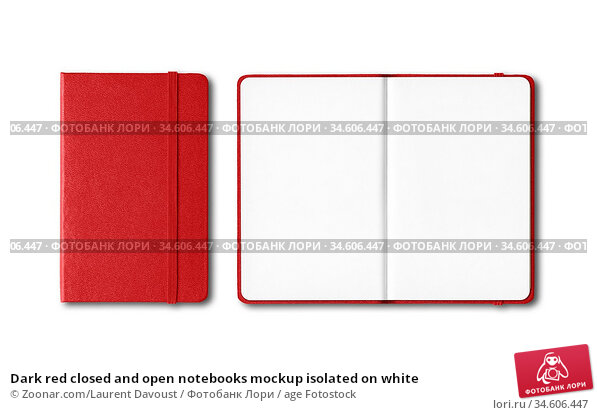 Dark red closed and open notebooks mockup isolated on white. Стоковое фото, фотограф Zoonar.com/Laurent Davoust / age Fotostock / Фотобанк Лори