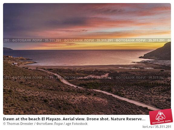 Dawn at the beach El Playazo. Aerial view. Drone shot. Nature Reserve... Стоковое фото, фотограф Thomas Dressler / age Fotostock / Фотобанк Лори