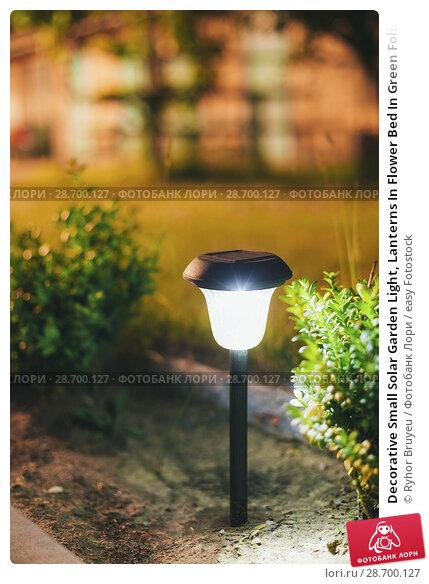 Купить «Decorative Small Solar Garden Light, Lanterns In Flower Bed In Green Foliage. Garden Design. Solar Powered Lamp.», фото № 28700127, снято 17 июня 2016 г. (c) easy Fotostock / Фотобанк Лори