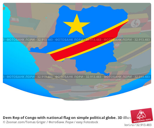 Dem Rep of Congo with national flag on simple political globe. 3D illustration. Стоковое фото, фотограф Zoonar.com/Tomas Griger / easy Fotostock / Фотобанк Лори