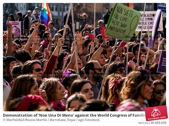 Demonstration of 'Non Una Di Meno' against the World Congress of Families XIII in Verona - Italy 30-03-2019. Редакционное фото, фотограф Marfisi/AGF/Nicola Marfisi / age Fotostock / Фотобанк Лори