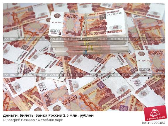 Купить «Деньги. Билеты Банка России 2,5 млн. рублей», фото № 229087, снято 21 марта 2008 г. (c) Валерий Назаров / Фотобанк Лори