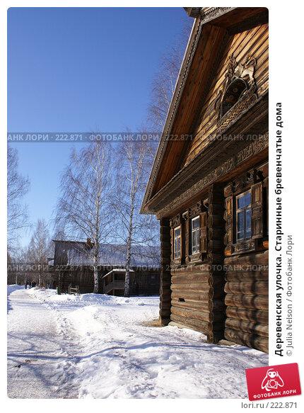 Деревенская улочка. Старинные бревенчатые дома, фото № 222871, снято 24 февраля 2008 г. (c) Julia Nelson / Фотобанк Лори