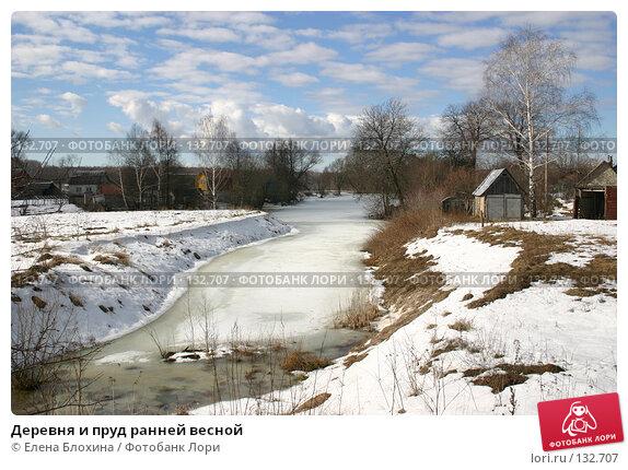 Деревня и пруд ранней весной, фото № 132707, снято 16 марта 2007 г. (c) Елена Блохина / Фотобанк Лори