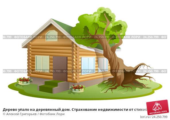 Купить «Дерево упало на деревянный дом. Страхование недвижимости от стихийных бедствий», иллюстрация № 24250799 (c) Алексей Григорьев / Фотобанк Лори