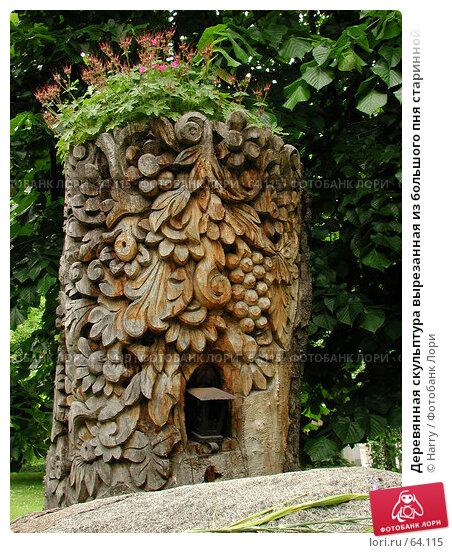 Деревянная скульптура вырезанная из большого пня старинной липы в историческом центре Софии, Болгария, фото № 64115, снято 22 мая 2004 г. (c) Harry / Фотобанк Лори