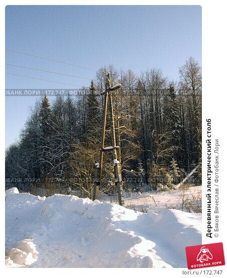 Деревянный электрический столб, фото № 172747, снято 22 декабря 2007 г. (c) Бяков Вячеслав / Фотобанк Лори