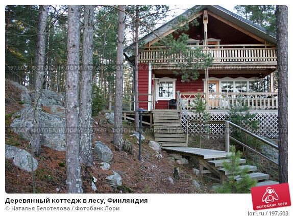Деревянный коттедж в лесу, Финляндия, фото № 197603, снято 30 декабря 2007 г. (c) Наталья Белотелова / Фотобанк Лори