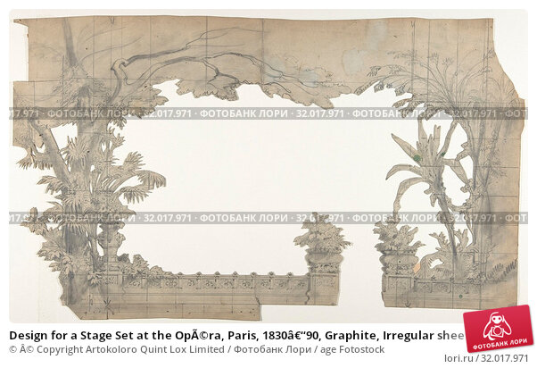 Купить «Design for a Stage Set at the Opéra, Paris, 1830–90, Graphite, Irregular sheet: 12 13/16 x 21 3/8 in. (32.6 x 54.3 cm), Drawings, Eugène Cicéri (French, Paris 1813–1890 Fontainebleau)», фото № 32017971, снято 21 мая 2017 г. (c) age Fotostock / Фотобанк Лори