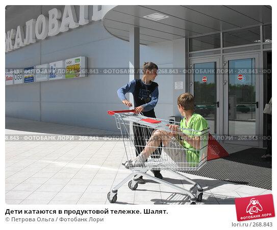 Дети катаются в продуктовой тележке. Шалят., фото № 268843, снято 20 мая 2007 г. (c) Петрова Ольга / Фотобанк Лори