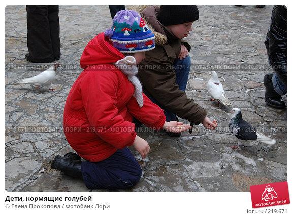 Купить «Дети, кормящие голубей», фото № 219671, снято 7 марта 2008 г. (c) Елена Прокопова / Фотобанк Лори