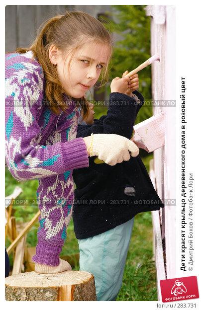 Купить «Дети красят крыльцо деревенского дома в розовый цвет», фото № 283731, снято 9 мая 2008 г. (c) Дмитрий Боков / Фотобанк Лори