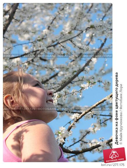 Купить «Девочка на фоне цветущего дерева», фото № 277175, снято 4 мая 2008 г. (c) Майя Крученкова / Фотобанк Лори