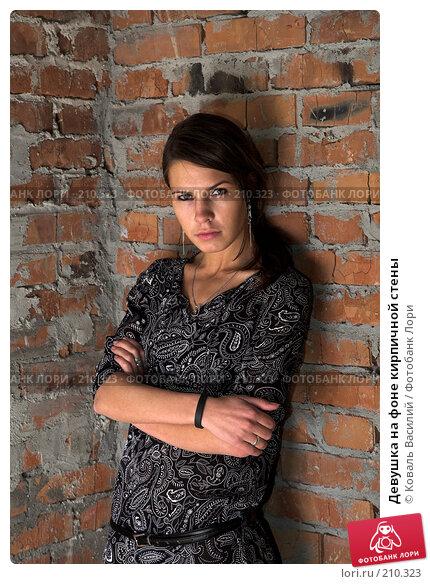 Девушка на фоне кирпичной стены, фото № 210323, снято 25 августа 2007 г. (c) Коваль Василий / Фотобанк Лори