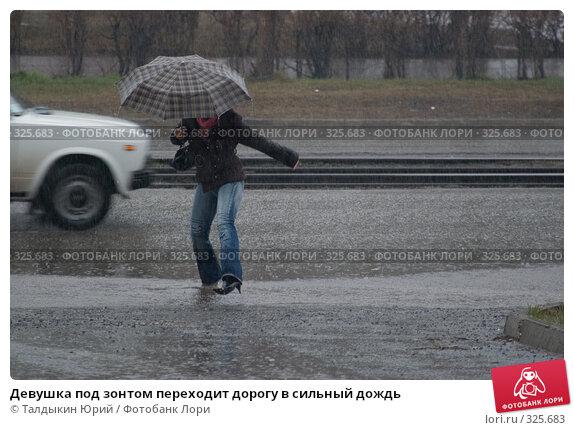Девушка под зонтом переходит дорогу в сильный дождь, фото № 325683, снято 20 апреля 2007 г. (c) Талдыкин Юрий / Фотобанк Лори